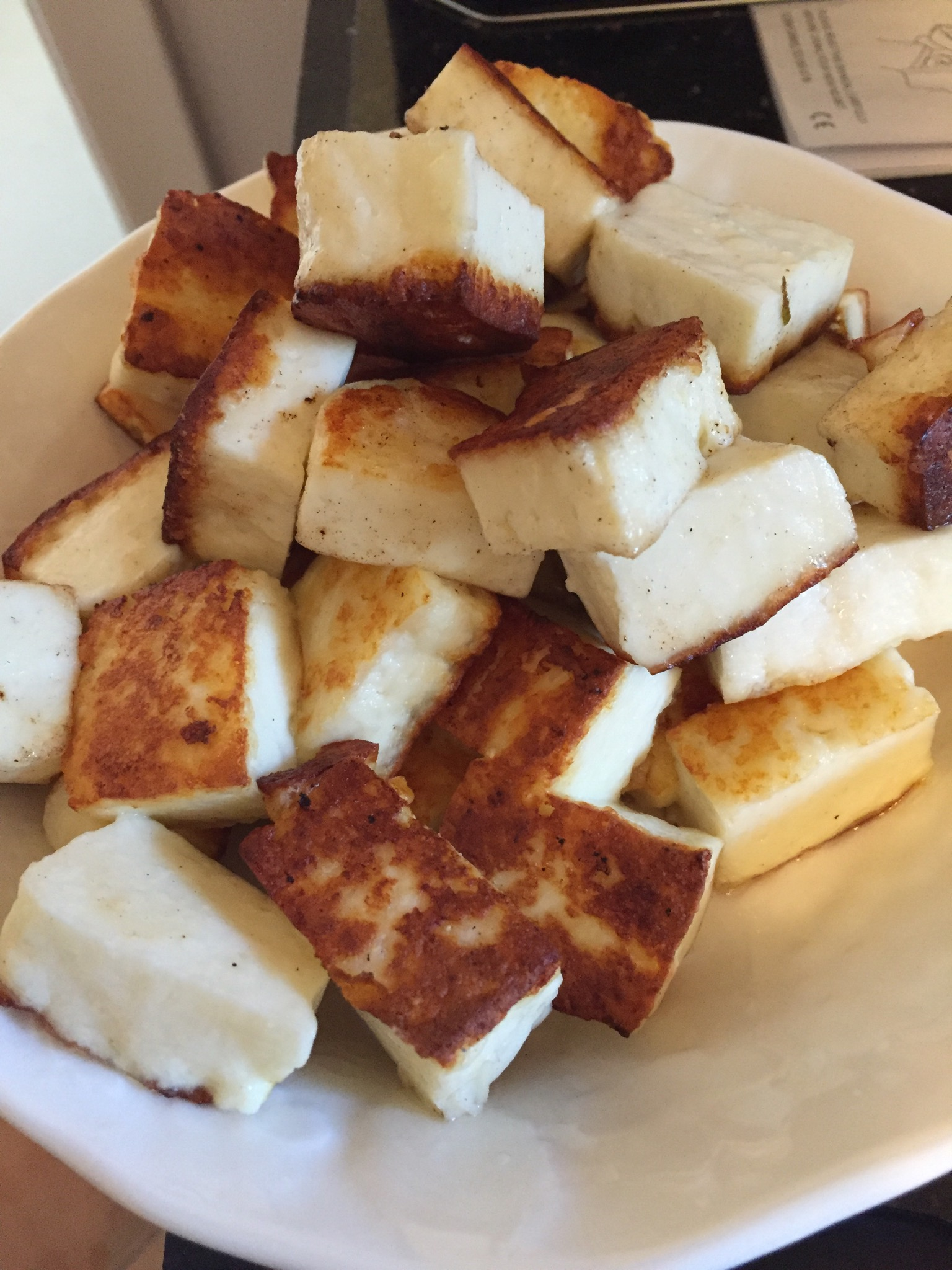 partially pan fried paneer